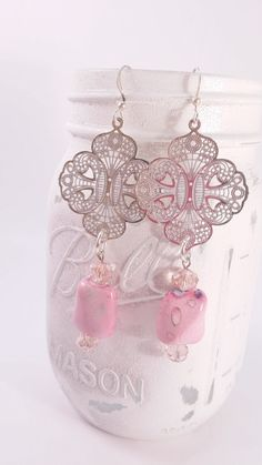 Silver tone filagree and pink dangle earring, lightweight, easy to wear