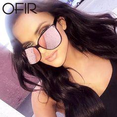 OFIR Women's Korea Sunglasses Brand Designer Flat Lens New Cat Eye Woman Eyewear Rose Gold Cat Eye Clear UV400
