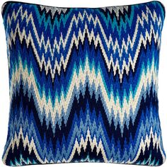Jonathan Adler Bargello Worth Pillow ($185) ❤ liked on Polyvore featuring home, home decor, throw pillows, blue, pillow, jonathan adler, blue accent pillows, blue home decor, blue toss pillows and jonathan adler home decor