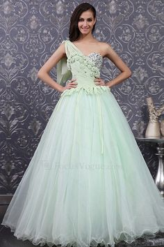 US $665.00 | Chiffon One Shoulder Floor Length Ball Gown Wedding Dress with Handmade Flowers