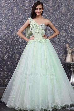 Chiffon ene skulder gulvet længde bolden kjole brudekjole med håndlavede blomster - Focus Vogue