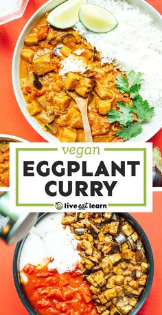 This Aubergine Curry or (Eggplant Curry) is an easy recipe that uses straightforward ingredients and is ready in under an hour. Perfect for two! #aubergine #eggplant #curry #vegan #vegetarian #indian #dinner Vegetarian Main Dishes, Best Vegetarian Recipes, Healthy Recipes On A Budget, Vegetarian Recipes Dinner, Curry Recipes, Clean Eating Recipes, Indian Food Recipes, Asian Recipes, Vegan Vegetarian