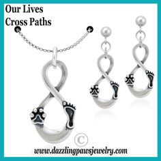 Our Lives Cross Paths pendant starts with a transcending focal point utilizing the power of Infinity to symbolize the everlasting love we feel for our beloved canines. Expertly crafted on one side of Infinity's lower half is a paw print (symbolic of your dog) precisely balanced to a parallel footprint (symbolic of you); the lines and textures of each symbol suggest matching harmony.
