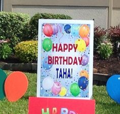 Bright, Personalized Balloon Birthday Sign Outdoor Birthday Decorations, Happy Birthday Signs, Personalized Balloons, Balloon Birthday, Bright, Frame, Picture Frame, Frames