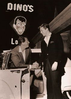 "Dean Martin greeting actor Edd Byrnes upon arriving at Dino's Lodge, Martin's bar and grill at 8532 Sunset Boulevard, the iconic location of the television series 77 SUNSET STRIP in which Byrnes co-starred as ""Kookie"" Dean Martin, Joey Bishop, Vintage Hollywood, Classic Hollywood, Vintage Tv, Hollywood Stars, Vintage Signs, Detective, Nostalgia"
