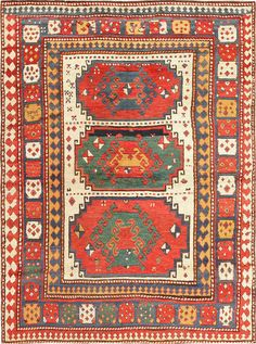 Antique Tribal Caucasian Kazak Rug 47371 Detail/Large View