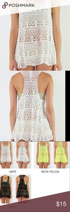 Crochet Ivory Scoop Neck Baby Doll Racerback Top Crochet Ivory Scoop Neck Baby Doll Top Detailed  Hi-Low Hem One Size  100% Cotton Hand Wash /Air Dry Tops Tank Tops