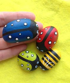 Ladybirds and a bee set of 4 stones  / by CreateAndCherish on Etsy