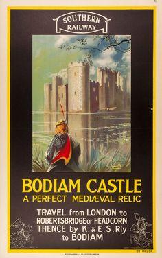 Bodiam Castle, a perfect medieval relic - Southern Railway - (Douglas Constable) Posters Uk, Train Posters, Railway Posters, Poster Prints, British Travel, Travel Uk, Bodiam Castle, Heritage Railway, Southern Railways