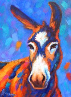 Equine Artists International - Contemporary Fine Art International: Contemporary Donkey Painting by Theresa Paden