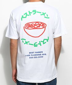 Yum yum, the A-Lab Best Ramen! white t-shirt features a red bowl of delicious ramen at the upper left chest and the back features a large graphic of a bowl of ramen and green Japanese letters. New T Shirt Design, Shirt Print Design, Shirt Designs, Printed Shirts, Tee Shirts, Buy T Shirts Online, Xxxtentacion Quotes, Ramen, Graphic Tees