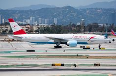 Austrian Airlines recently began service between VIE and 777 LAX. Photo taken on April Boeing Aircraft, Boeing 777, Pista, Taxi, Planes, Aviation, My Photos, Commercial, Collection