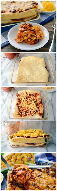 Southwestern lasagna with layers of chili, cheddar cheese, and crescent dough (instead of noodles)!