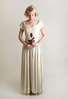 1930s White Velvet Gown - Vintage Ivory Winter Wedding Dress - Small. $220.00.