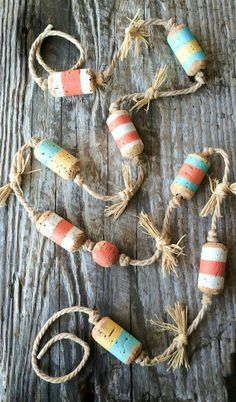 Wine Corks - Nautical Decor Beach Theme Peach Decor by NatureScavenger on . - Wine Corks – Nautical Decor Beach Theme Peach Decor by NatureScavenger on Etsy Plus - Diy Christmas Garland, Nautical Christmas, Christmas Crafts, Halloween Crafts, Beach Christmas Trees, Christmas Ideas, Office Christmas, Christmas Coffee, Christmas Decorations
