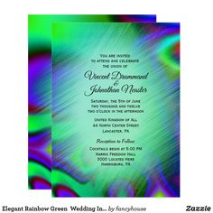 Elegant Rainbow Green  Wedding Invitations