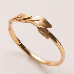 Hojas anillo 14K anillo de oro Anillo unisex anillo por doronmerav