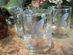 Three Silver Leaf Bar Glasses Vintage 1960's Libbey Barware Hi-Ball Juice Cup…