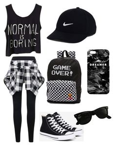 """Black and White"" by helenhenderson on Polyvore featuring Converse, Vans, NIKE, Ray-Ban and Mr. Gugu & Miss Go"