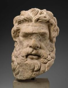 Polyphemus, head of Hellenistic statue (marble), 2nd century BC, (Museum of Fine Arts, Boston).