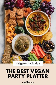 This Ultimate Vegan Party Platter is sure to be the life of the party at any gathering! This snack board is the perfect tailgate snack idea that has something for everyone! Filled with fruit, vegan chicken nuggets, dips, and more, this party platter will disappear in no time. Vegan Cheddar Cheese, Vegan Queso, Vegan Party Food, Easy Party Food, Charcuterie Vegan, Side Dish Recipes, Side Dishes, Vegan Chicken Nuggets, Party Platters