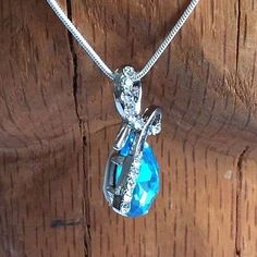 Sterling Silver Chain 22 Inches with Blue & Clear Crystal Pendant New