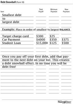 Debt Snowball - An easy form to use to pay off debt by snowballing payments.