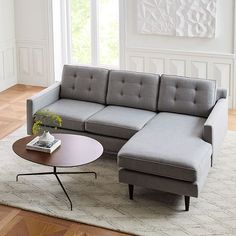 Our Drake Reversible Sectional allows for effortless room rearranging while its crisp lines, tapered wooden legs and grid button-tufted back cushions keep it always looking neat and chic. Hand upholstered in the USA, it's available in your choice … Oversized Furniture, Small Furniture, Upcycled Furniture, Furniture Design, Chaise Cushions, Chaise Sofa, My Living Room, Living Room Decor, Living Spaces