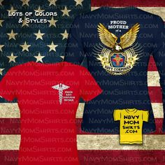 Proud Navy Corpsman Mother Shirts with Big Eagle designed by NavyMomShirts.com