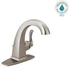 Delta Everly 4 in. Centerset Single-Handle Bathroom Faucet in SpotShield Brushed Nickel. With defined edges and an elegant twist, the Everly Collection has a distinct silhouette to embellish your bath.