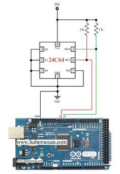 Circuit to Read and Write Data to a 24C64 EEPROM using Arduino Read more at : http://www.haberocean.com/2015/03/circuit-to-read-and-write-data-to-a-24c64-eeprom-using-arduino-part-1-of-5/