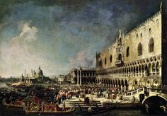 Giovanni Antonio Canal dit Canaletto - Arrivée de l'ambassadeur de France à Venise, 181 x 260 cm, 1740. The State Hermitage Museum, Saint Petersburg, Russia. The collection includes over 3 million works of art and world culture artefacts. It contains paintings, graphic works, sculptures, works of applied art, archaeological artefacts and numismatic objects...  is considered to be founded in 1764, when Empress Catherine the Great  ... http://www.hermitagemuseum.org…