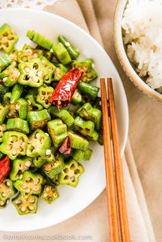 Four-Ingredient Okra Stir-fry | omnivorescookbook.com