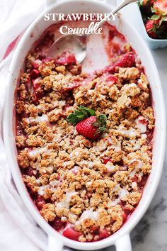Strawberry Crumble - Warm and nutty dessert combined with sweet strawberries and a crisp crumble topping. Get the recipe on diethood.com