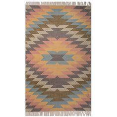 West Elm Faded Geo Kilim Rug ($1,199) ❤ liked on Polyvore featuring home, rugs, west elm, kelim rug, kilim rug, kilim area rugs and anatolian kilim rug