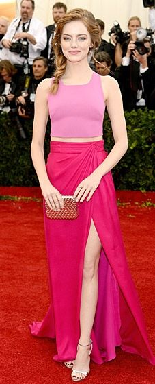 Emma Stone wears a pretty gown by Thakoon and heels by Miu Miu at the 2014 Met Gala