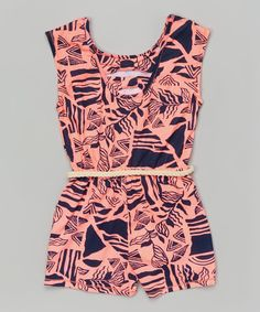 Look at this Flamingo & Navy Belted Romper - Girls on #zulily today!