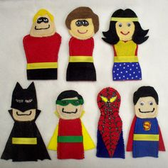 Superhero Felt Finger Puppets {Etsy DIY} maybe a make and take and finish at home type. Little People, Little Ones, Felt Crafts, Fabric Crafts, Craft Projects, Sewing Projects, Felt Finger Puppets, Craft Activities, Crafts For Kids