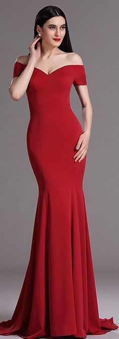 [USD 149.99] eDressit Burgundy Off Shoulder Mermaid Formal Prom Dress (00165217)
