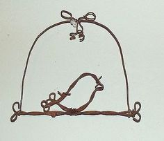 Barbed wire bird on a swing cage rustic spring country wall decor handmade art
