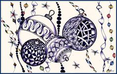 Zentangle - Christmas Tree Ornaments by Helena