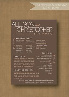 rustic hearts and arrows wedding ceremony by xSimplyModernDesignx - like the In Loving Memory verbiage