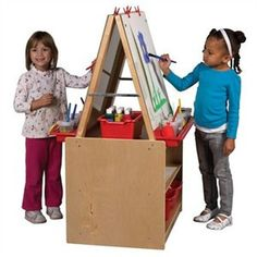 The ECR4KIDS 2 Station Art Easel with Storage allows 2 children to paint comfortably. Made for preschool kids, the unit has two dry-erase boards, trays for paint cups, easel clips and additional stora