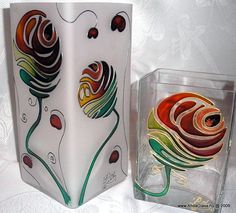Üvegfestett dísztárgyak | AndaGlass | Candle holder | Hand painted stained glass.