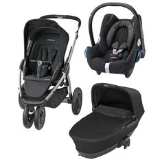 Don't miss out our latest package deal including Maxi-Cosi Mura Plus 3 wheeler pushchair, fooldable carrycot & Cabriofix car seat in Raven Black colour! Pushchair, pram & travel system in one!