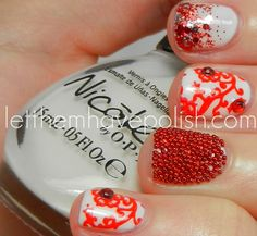 Let them have Polish!: Nail Stamping- B Challenge White Nail Designs, Nail Polish Designs, Cool Nail Designs, Hot Nails, Hair And Nails, Caviar Nails, Pedicure Nails, Manicure, Nail Time