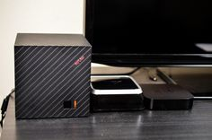ASUS CUBE with Google TV $139.99 USD (next to another Google TV set top box & a Apple TV box) http://gtvsource.com/2013/04/23/asus-cube-google-tv-review/ #ASUS #Cube #GoogleTV #Google #TV