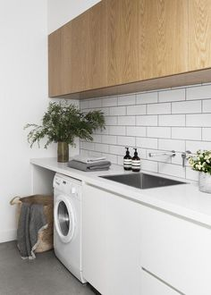 The Laundry — A Cantilever Approach — Kitchen Renovation & Custom Kitchen Designs Laundry Decor, Laundry Room Design, Laundry In Bathroom, Laundry Basket, Laundry In Kitchen, Laundry Nook, Home Interior, Kitchen Interior, Kitchen Decor