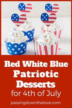 Perfect of July Desserts for your party or BBQ. Fun, patriotic, easy to make treats to make for Independence Day holiday party. Patriotic Desserts, Blue Desserts, 4th Of July Desserts, Fourth Of July Food, 4th Of July Fireworks, Patriotic Party, 4th Of July Party, Patriotic Crafts, July 4th