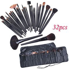 Professional 32 PCS Cosmetic Facial Make up Brush Kit Wool Makeup Brushes Tools Set with Black Leather Case-Hot Sale-TOP Quality!-[Free Shipping]